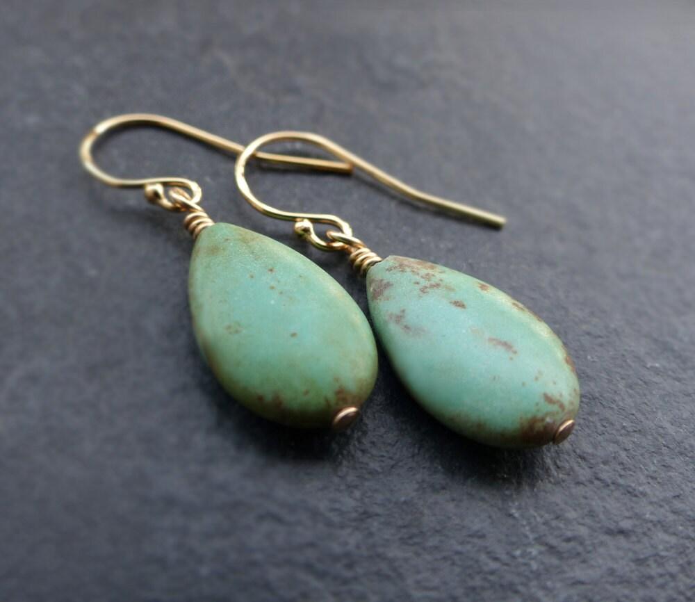 Turquoise earrings 14K gold filled sterling silver turquoise teardrop earrings turquoise drop earrings