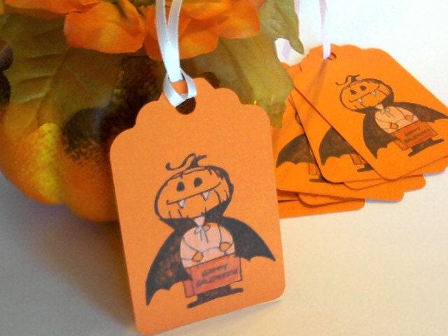 SALE Halloween Treat Gift Tags Little Pumpkin Vampire Orange Set of 8 - AlwaysPrettyPaper