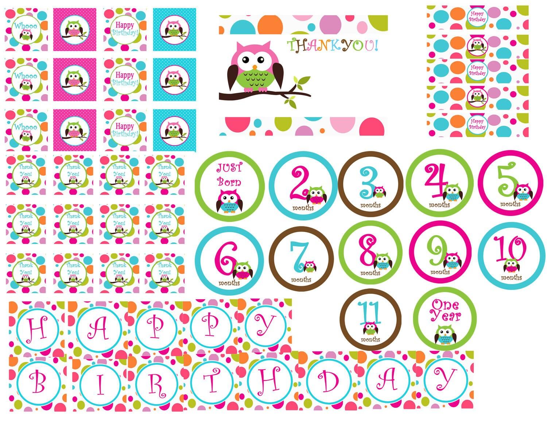 Instant Download! Printable Polka Dot Owl Birthday Package. Digital ...