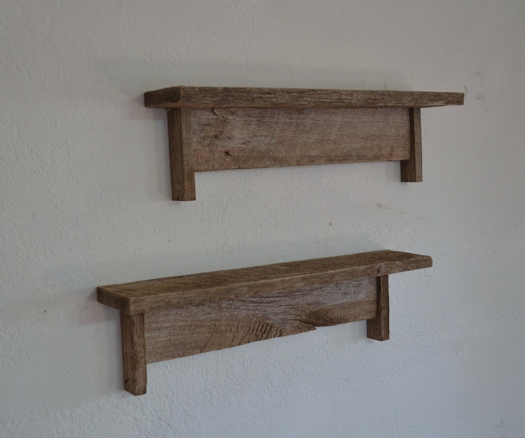 pair of wall shelves reclaimed wood 21 wide 4 deep by. Black Bedroom Furniture Sets. Home Design Ideas