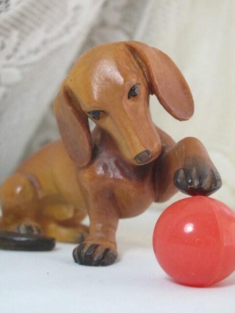 Vintage hand carved wood dachshund dog figurine by