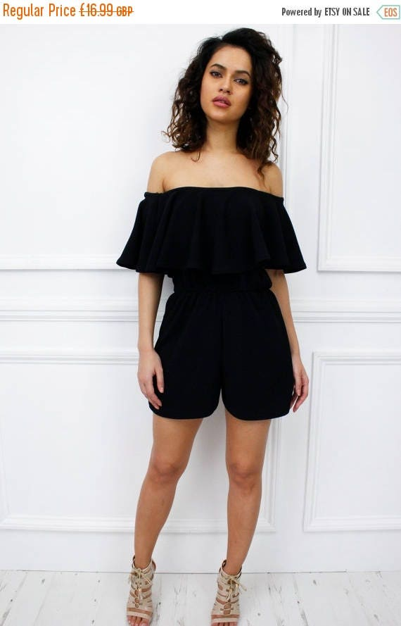 ON SALE New Womens Ladies Barbados Black Strapless Frill  Bardot Style Playsuit