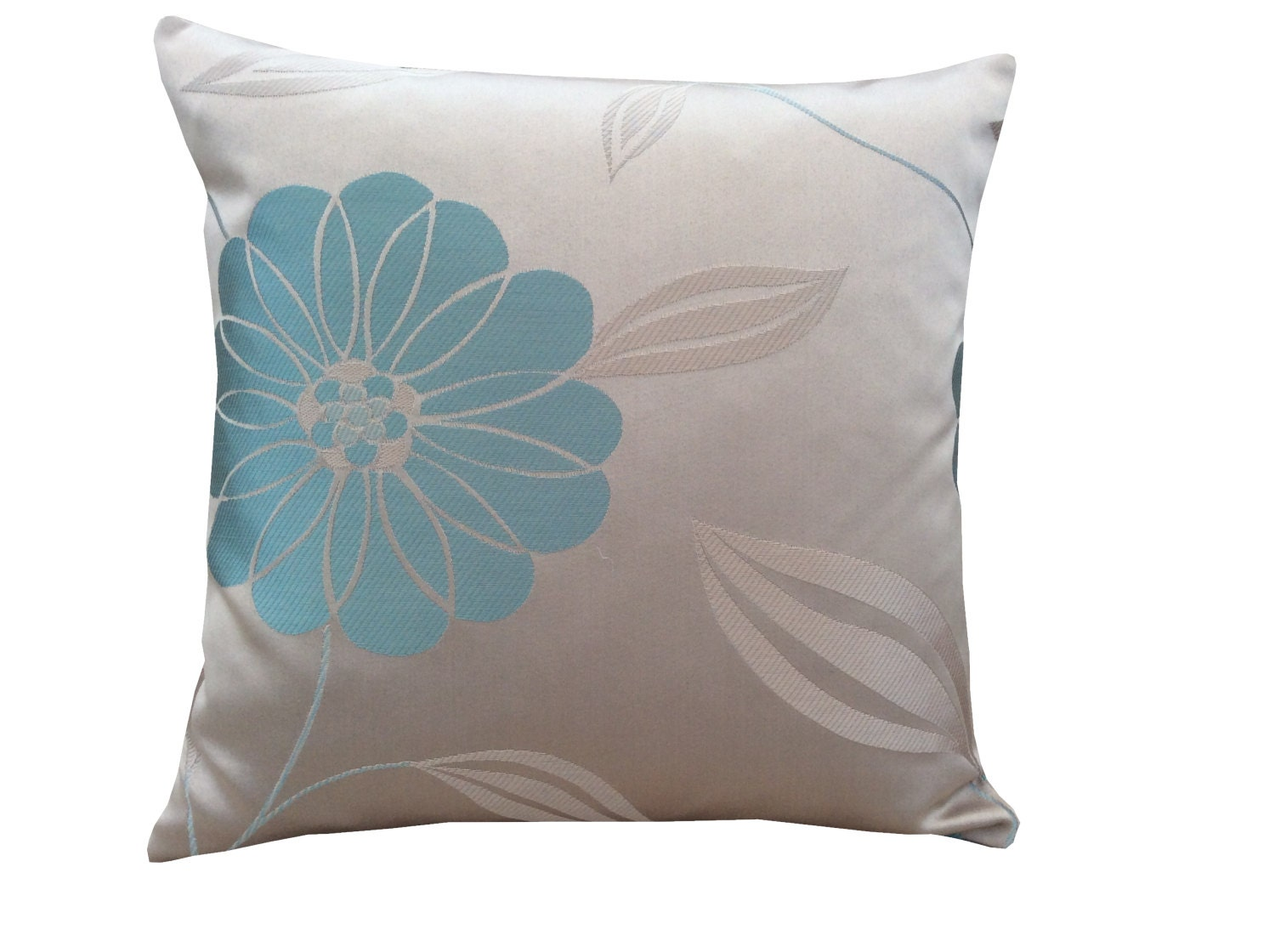 Stunning hand made cushion cover Pillow case made from Marbella fabric in beige brown cream  duck egg flowers floral home bedroom lounge