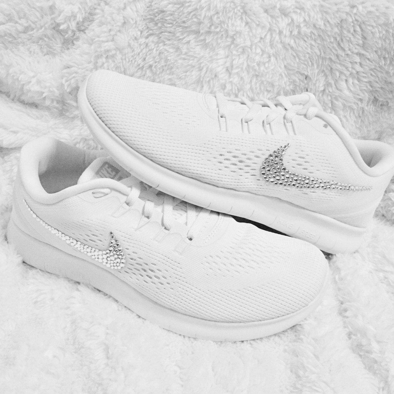 Swarovski Crystal White Nike Free RN Womens by CrystalsAndCaviar 85 ... 187c6c380