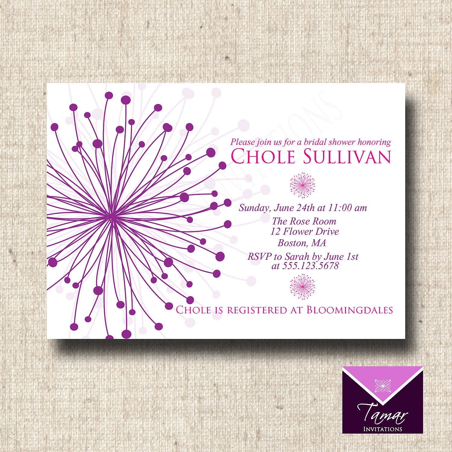 Printable Bridal Shower or Baby Shower Invitation Card - Modern Flower ...