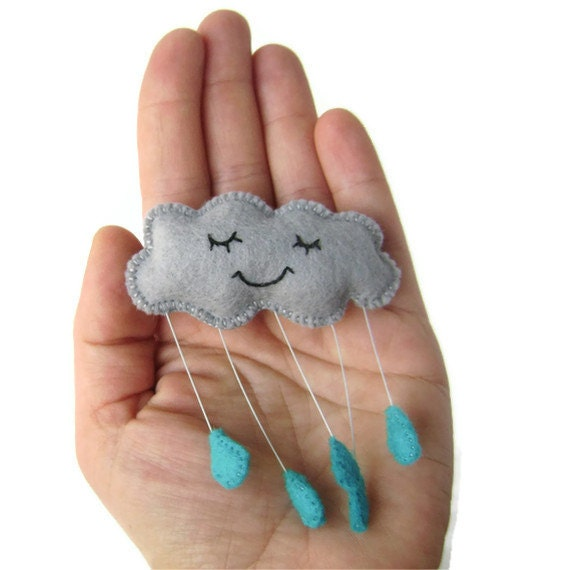 Grey Rain Cloud Felt Brooch with Blue Raindrops Sleepy Contented Cloud Brooch - CandykinsCrafts
