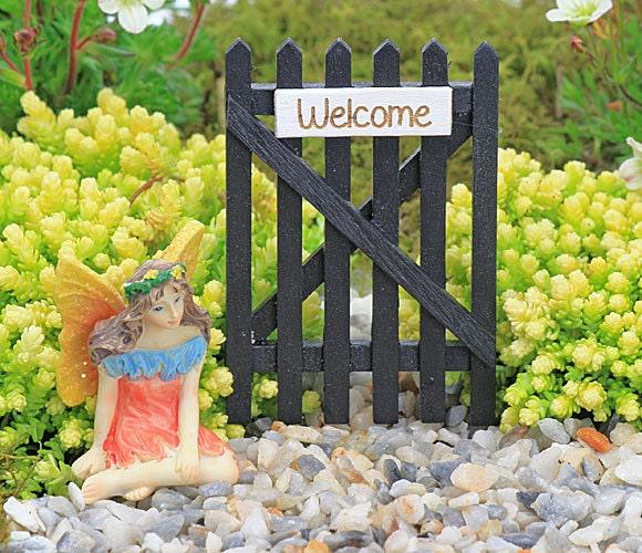 Fairy Garden Miniature Wooden Black Garden Gate with Welcome Sign  Fairy Gate Fairy Garden Accessory
