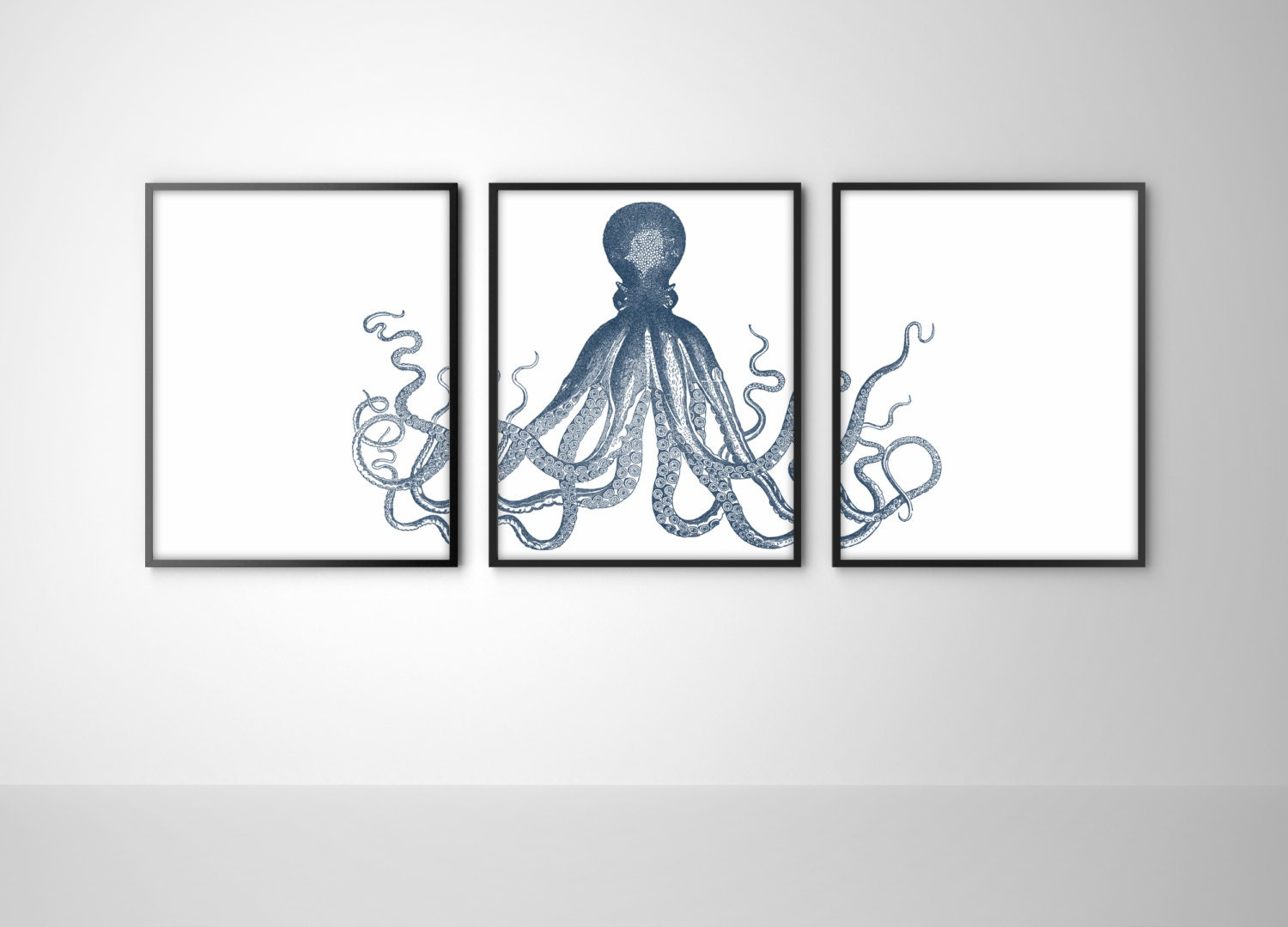 Nautical Octopus Trio - Set of 3 Art Prints - Navy Blue Octopus Triptych - Beach House, Bathroom, Nursery Decor - BySamantha