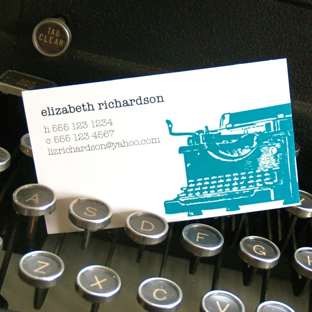 personalized calling cards -vintage typewriter (100 cards)