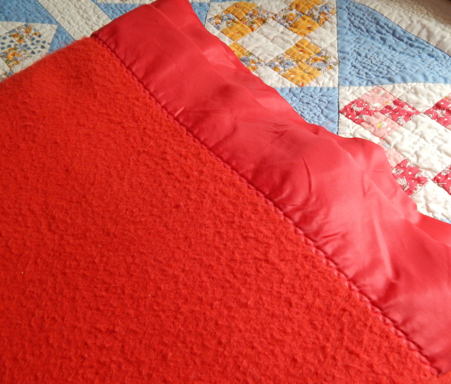 Soft Red Queen Sized Blanket With Satin Trim By Solachristine