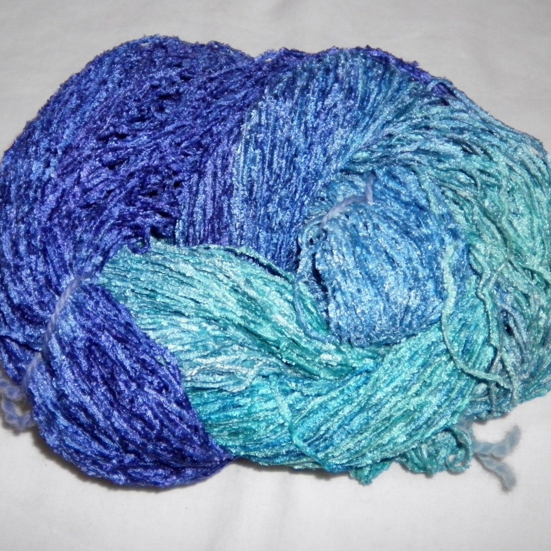 Chenille Yarn : Handpainted Soft Rayon Chenille Yarn by YarntopiaTreasures