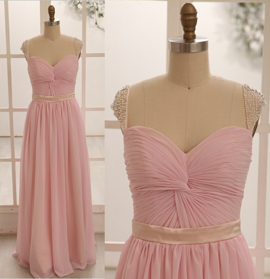 Blush Pink Chiffon Bridesmaid Dress/Prom Dress Beaded by ...