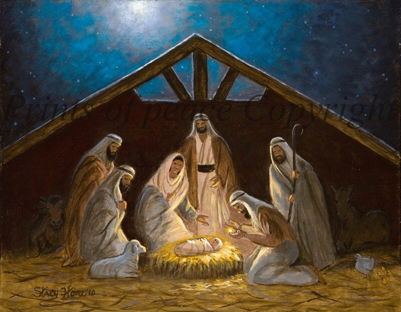 Nativity Scene Painting Child nativity scene by