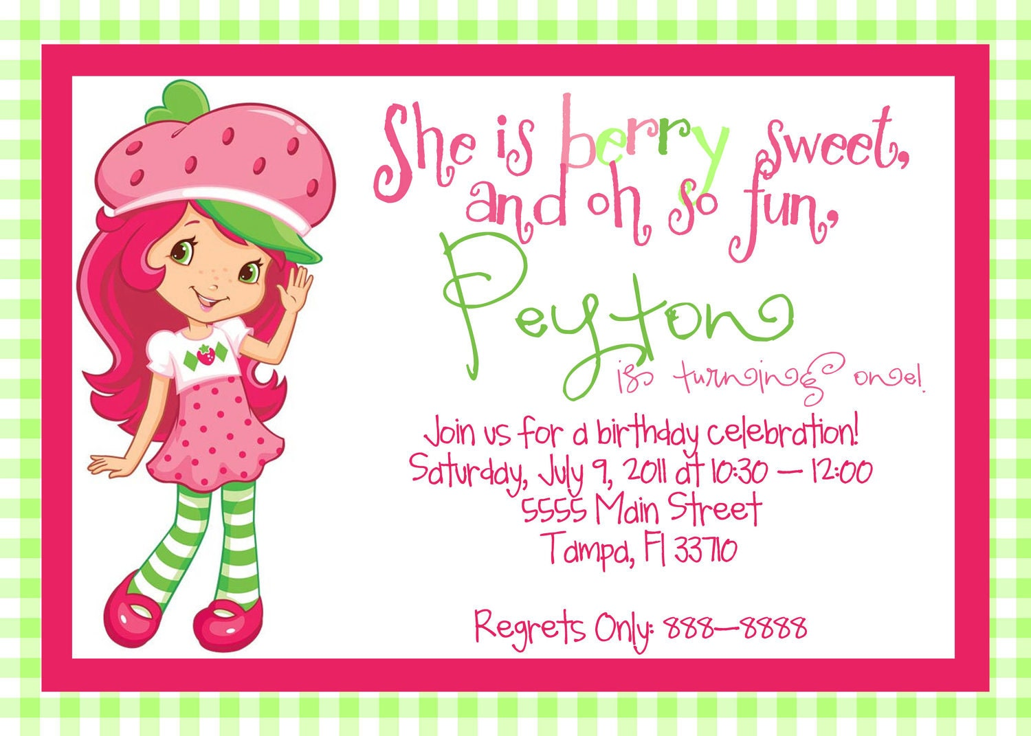 Strawberry Shortcake Birthday Invitations can inspire you to create best invitation template