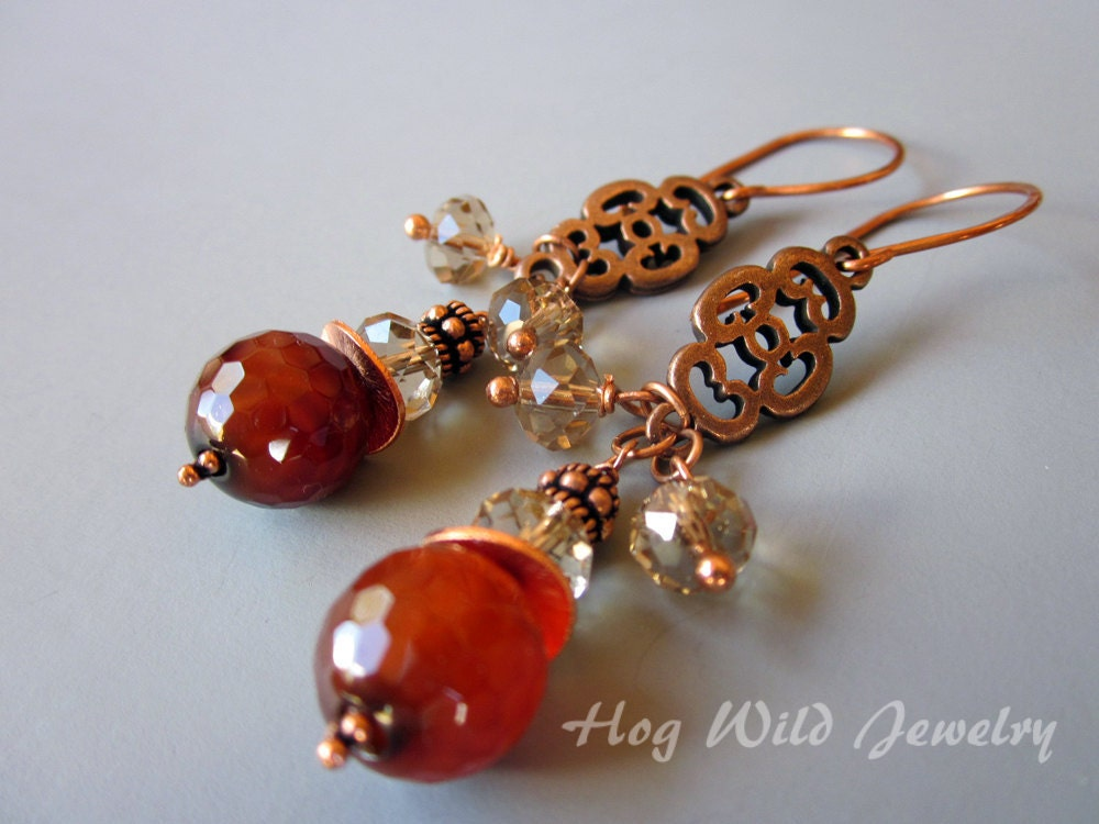 Copper Brown Agate Chandelier Dangle Earrings