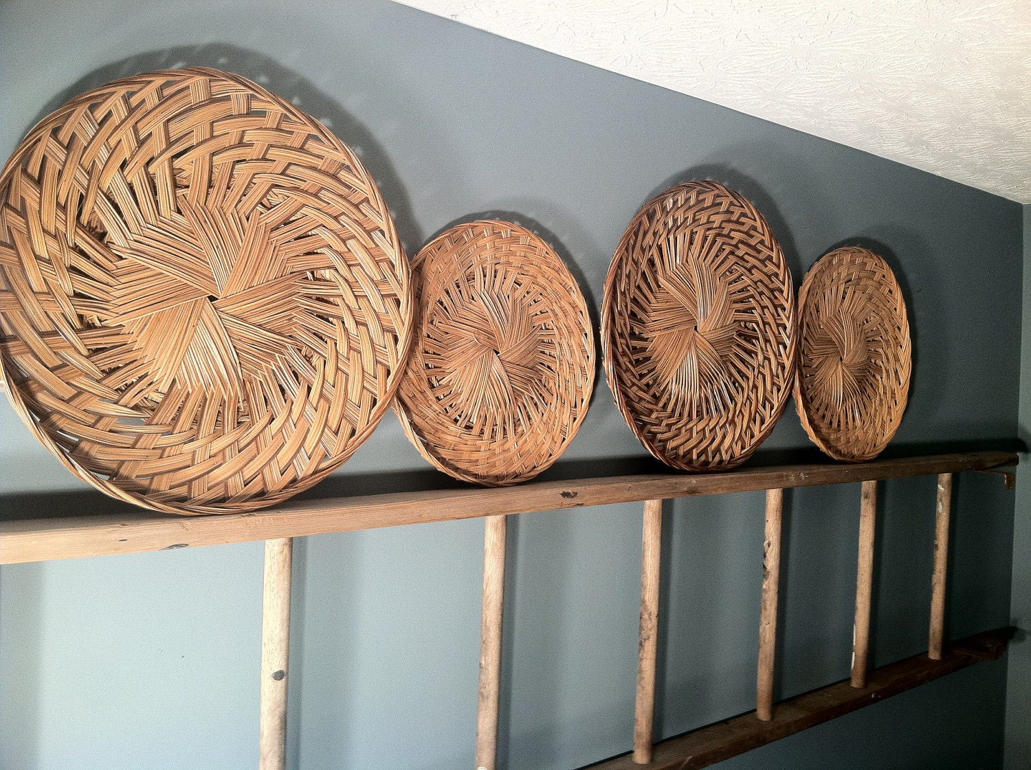 Rattan Wall Decor Round : Woven wicker wall decor round set of by zassystreasures