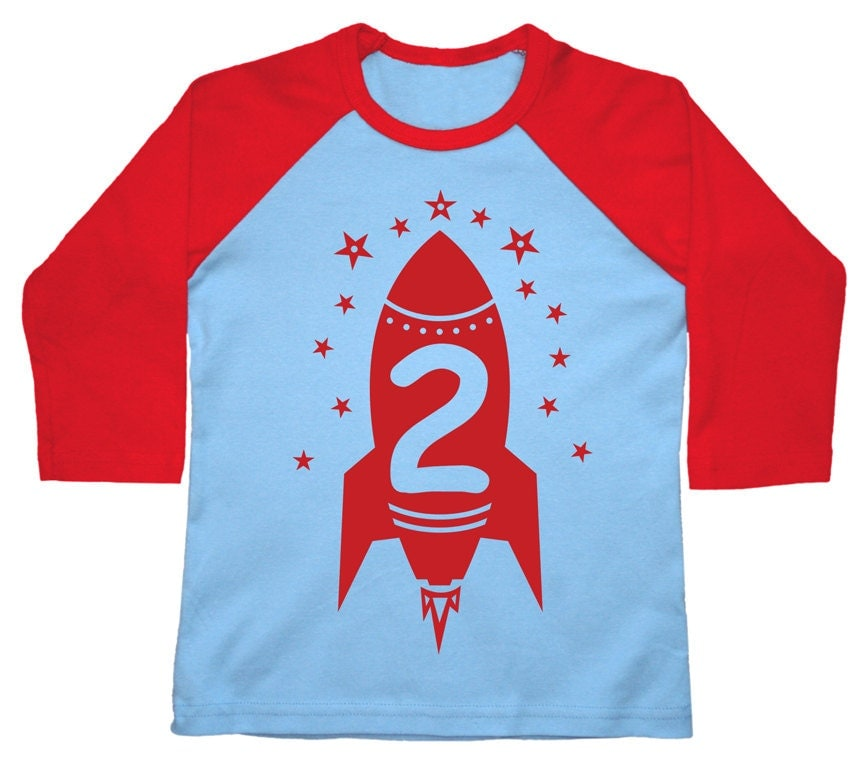 Rocket Birthday Personalized Raglan Kids Outer By