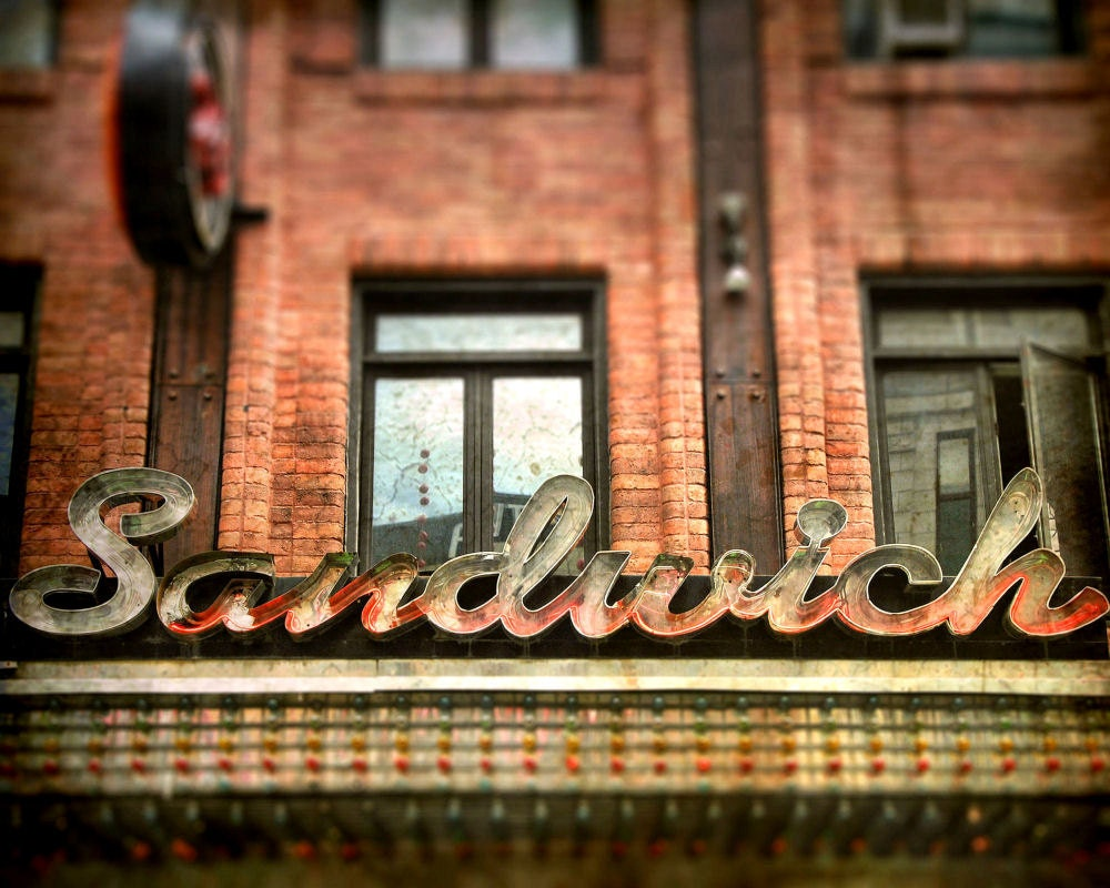Sidewalk cafe summer bistro storefront marquee by gbrosseau