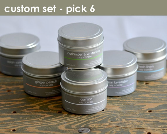 Soy Candle Collection - Create your own (pick 6) - 4 oz. tins - scented soy candles - plainjbodyandhome