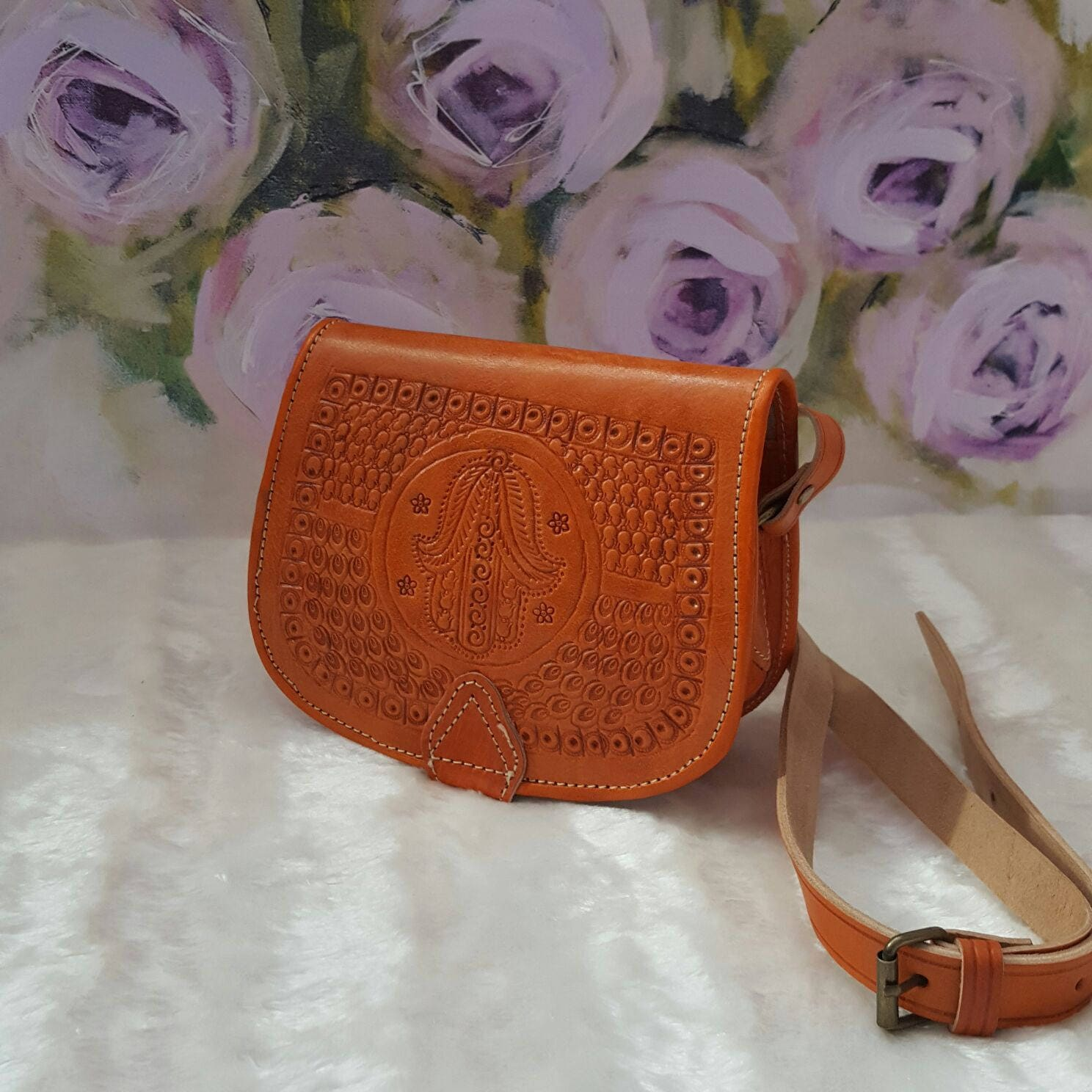 Moroccan Handmade crossbody messenger orangecaramel leather bag