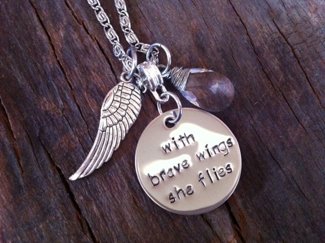 With brave wings she flies hand stamped mommy by 3littlegems for How do you make hand stamped jewelry