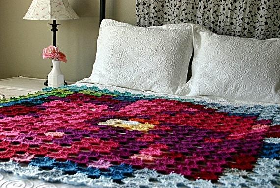 Crochet Flower Granny Square Blanket Pattern : Pointillism Posie Crochet Pattern Granny Square by ...