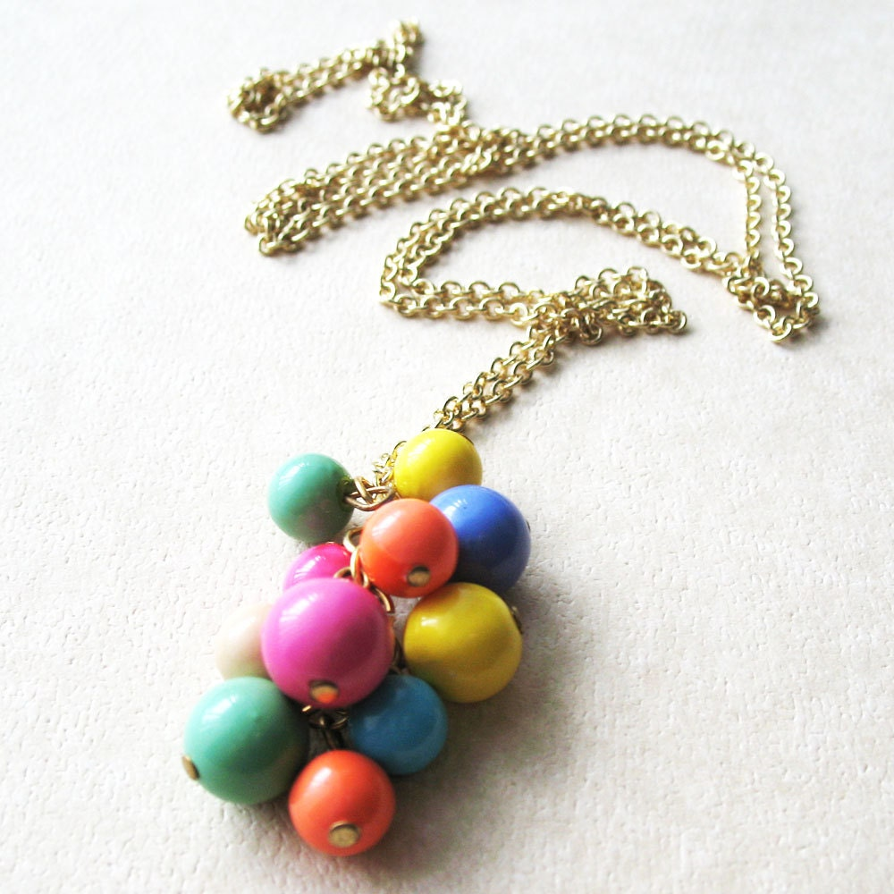 Colorful Beaded Long Strand Necklace - I Want Candy - pulpsushi
