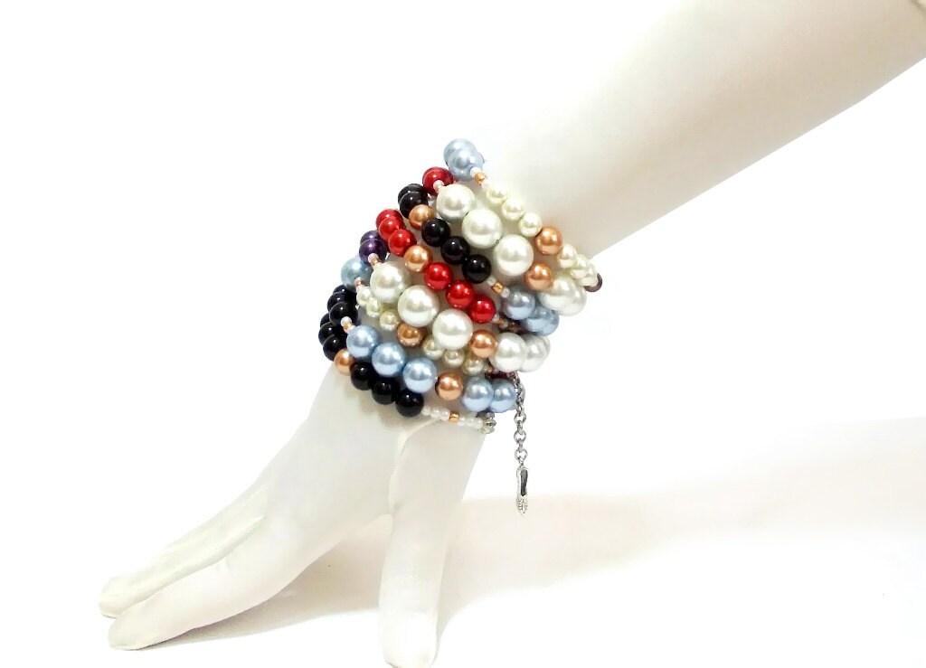Beaded Wire Bracelet- Boho Bracelet- Colored- Stacked Bracelets- Glass Beads- Layered Bracelet- Charm Beaded Layered Bracelet- Artisan - CatsAndSheeps