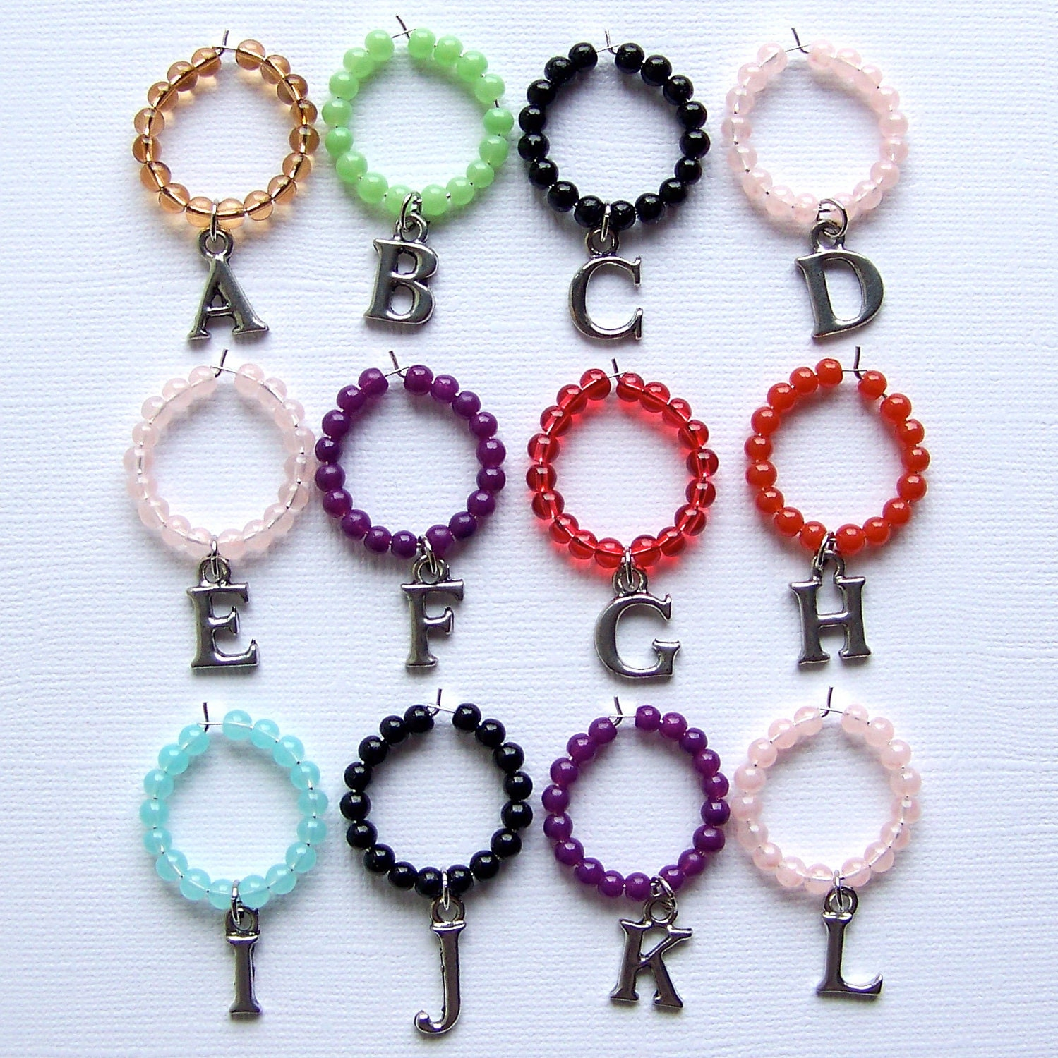 Alphabet Wine Glass Charms - Set of 6 - Your Choice of Letters