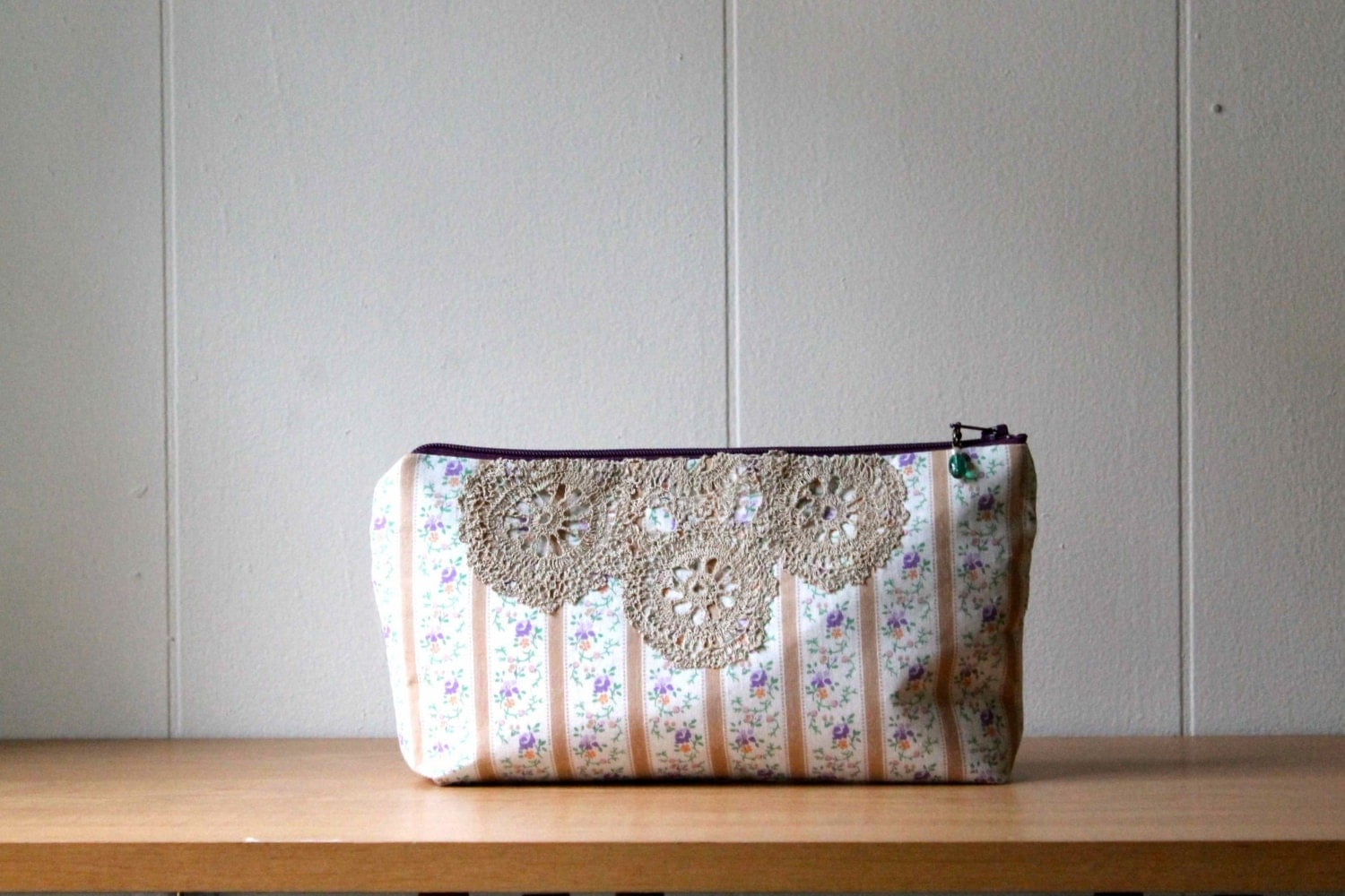 Vintage Fabric floral zipper pouch, makeup bag, lace bag - brown stripes - MomoTrees