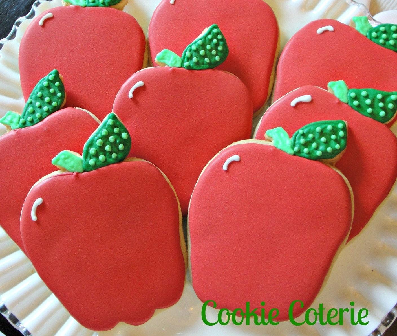 Apple Cookies Back To School Cookies Decorated Cookies Teacher Appreciation Cookies One Dozen - CookieCoterie