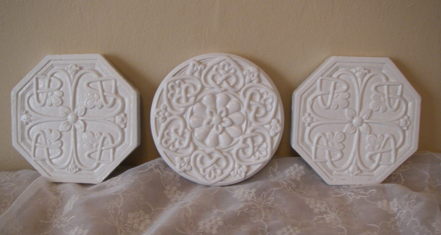 White Shabby Wall Plaque Medallion By Abackyardcreation On