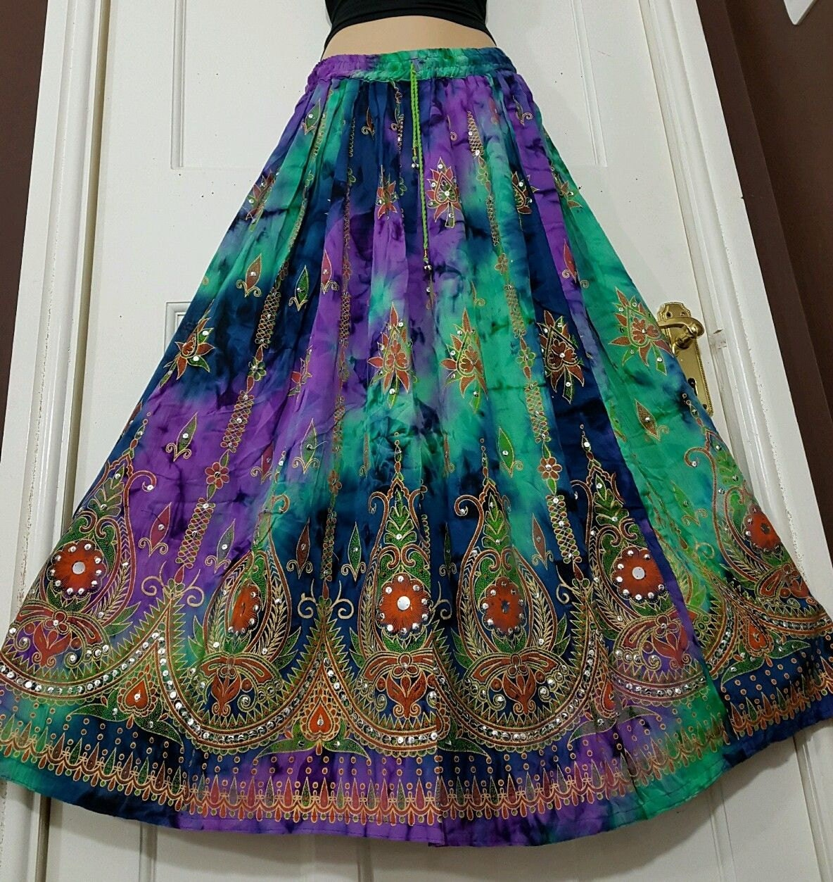 Ladies Boho Hippie Gypsy Long Skirt Party Sequin Rayon TieDye Block Painted Aqua GreenBluePurple Handmade freesize XS S M L
