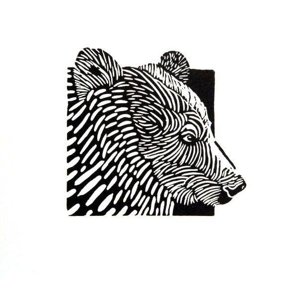 Linocut Animals Bear Beer Hand Printed Wall Art By Printster