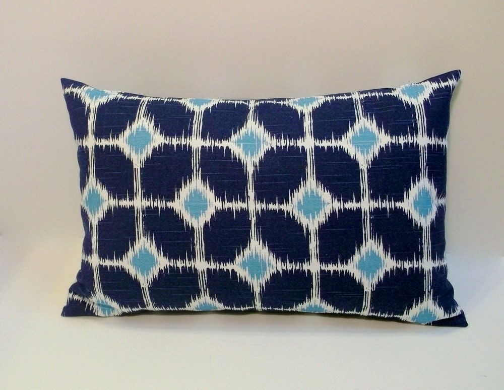 Navy and teal decorative lumbar pillow cover 12x18 by ShadoBox