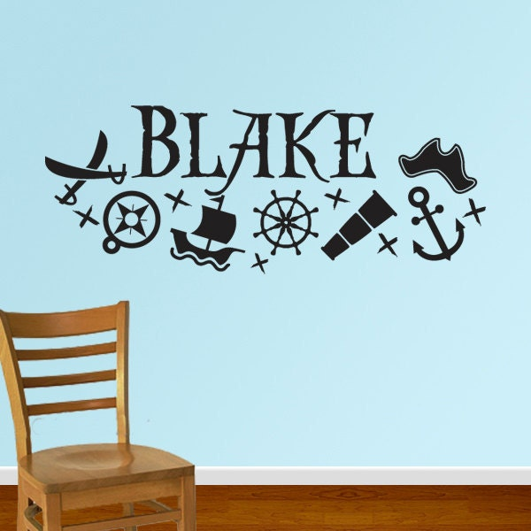 pirate name vinyl wall decal sticker db131 by designedbeginnings. Black Bedroom Furniture Sets. Home Design Ideas