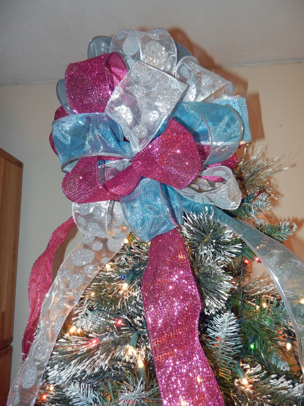 large christmas tree topper bow 3 ribbons teal by creativelycarole. Black Bedroom Furniture Sets. Home Design Ideas