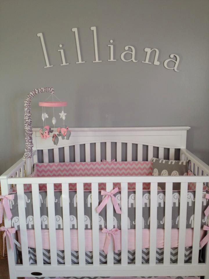 Pink and gray elephant mobile elephant mobile baby crib for Baby mobile pink and grey