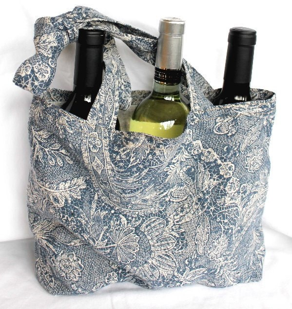 Blue and Gray Floral Linen Shopping Tote - CageFreeFibers