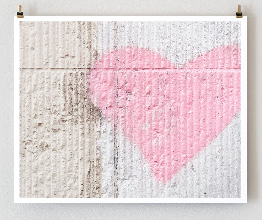 Pink Heart, Paris Graffiti - Fine Art Photograph Art Print - Paris Photography - Heart Decor - Pink Wall Art - Valentine Love