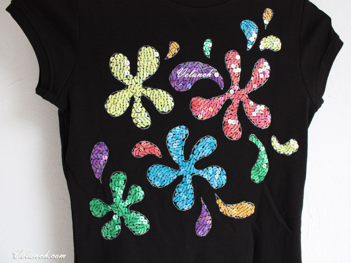 Sequin Tshirt Black hand painted embroidered Colorful - velanch