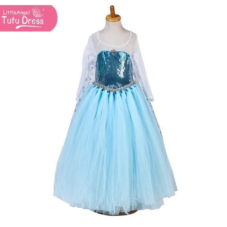 Frozen Elsa Gown Frozen Elsa Costume Girls Elsa Costume Long Sleeved  Halloween Costume Handmade Kids Fancy Dress Girls TUTU