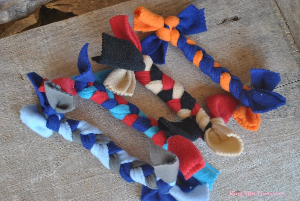Dog Tug Toys-4 Small-Purchase Help Fight Animal Cruelty-Black, Blue, Red, Orange, Tan, Grey