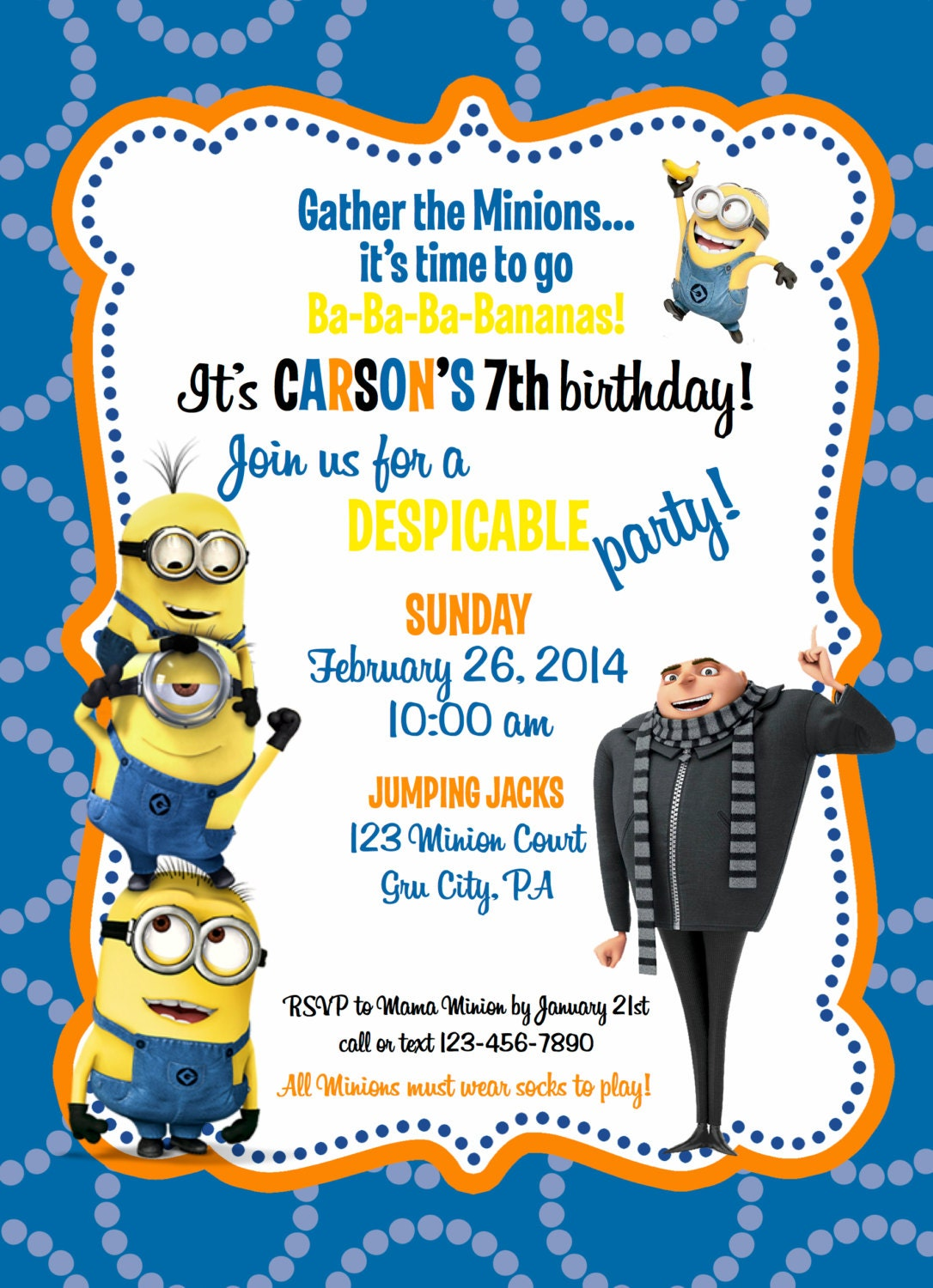 Rare image in minions printable invitations