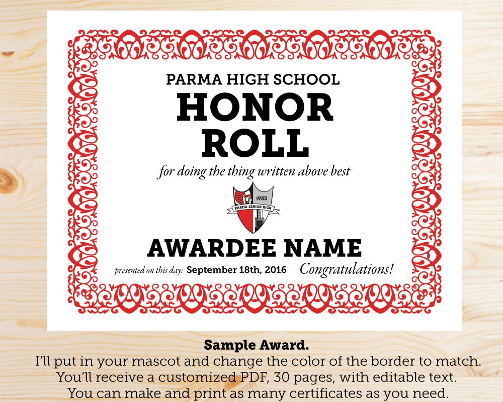 A b honor roll certificate template mandegarfo a b honor roll certificate template yelopaper Images