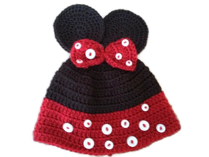 Knitted Minnie Mouse Hat Pattern : Items similar to Hand Knit Minnie Mouse Hat on Etsy