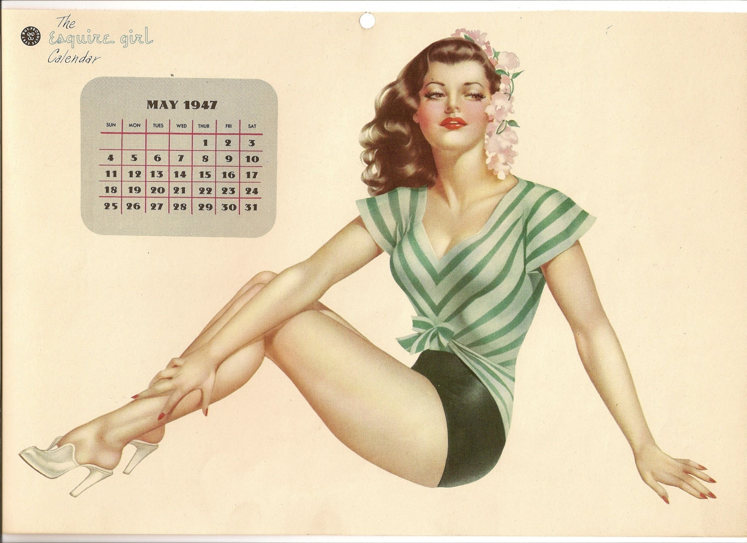 Calendar Girl May : May page esquire girl calendar pin up by pegi on etsy