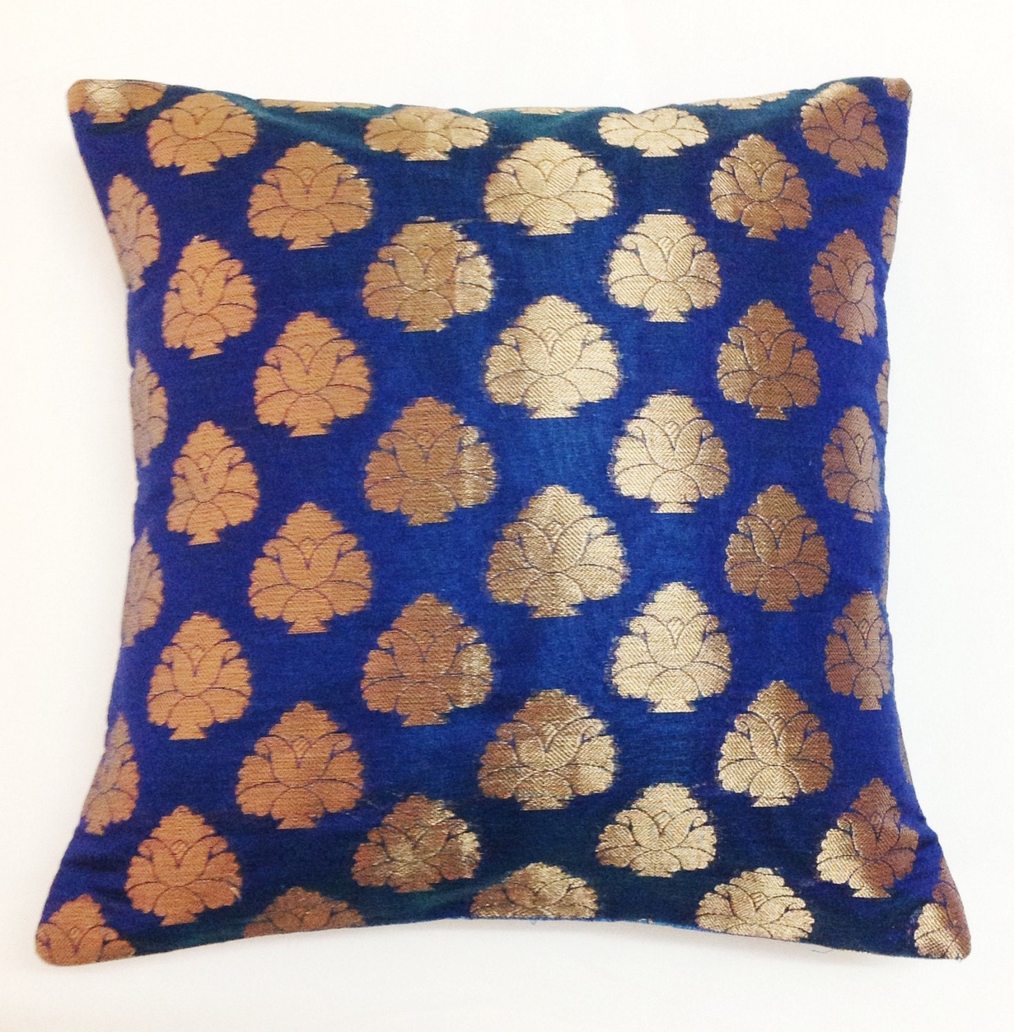 Electric Blue and Gold Decorative Silk Pillow Cover - Handmade Throw Pillow - Silk Cushion Cover  12x12 inches - DesiPillows