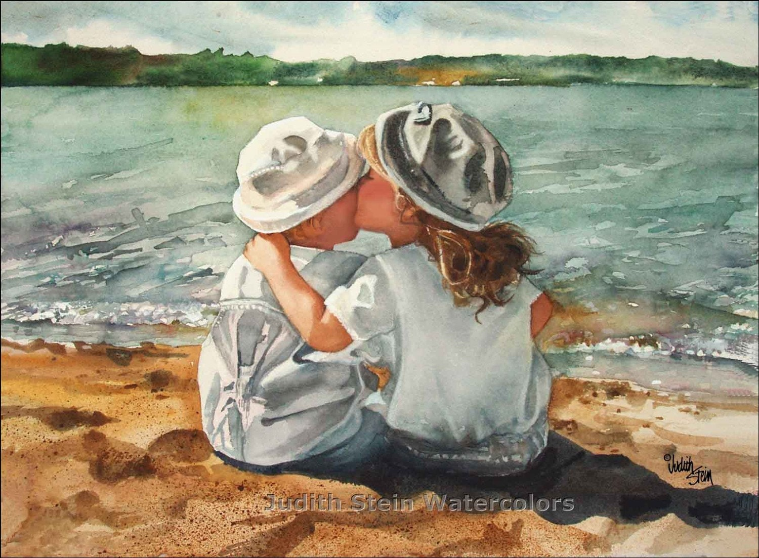 BEACH KISSES Children at Play 15x11 Giclee Watercolor Art Print - steinwatercolors