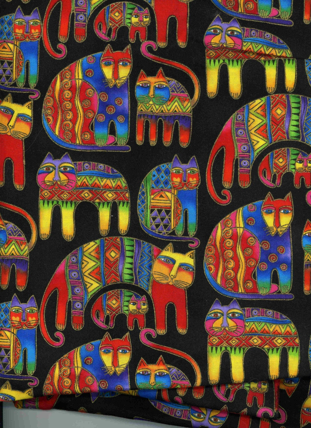 Cat Fabric Laurel Burch Colorful Felines On Black By